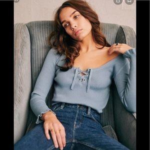 Sezane Soizic long sleeve blue sweater. Size XXL
